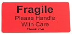 Fragile Please Handle With Care Stickers 250 Red Labels Fragile4020R