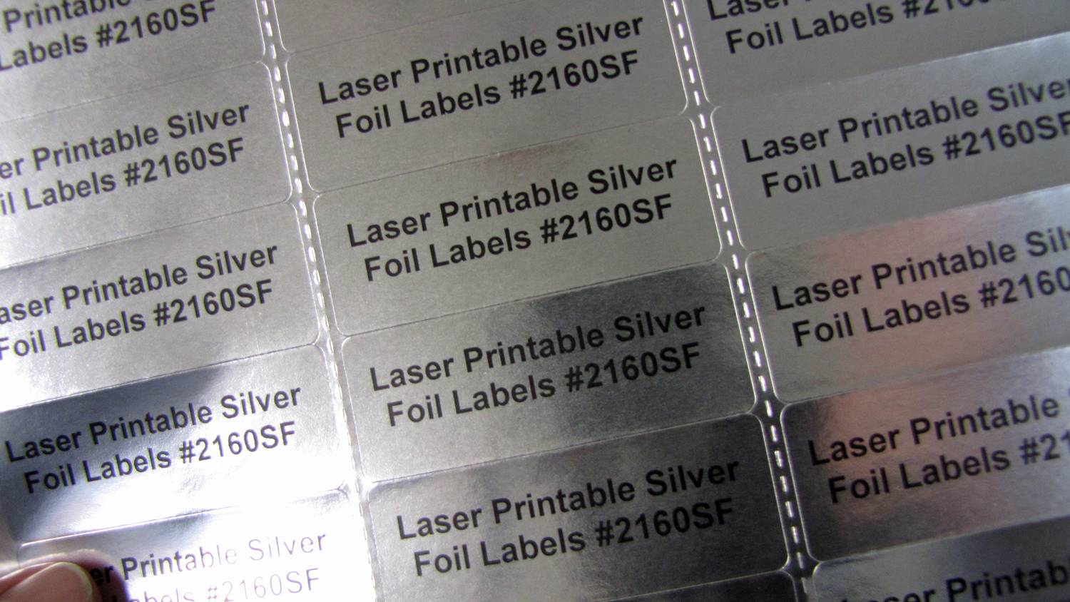 photograph relating to Printable Labels Sheets identified as Silver Foil 2 5/8 x 1 Laser Printable Labels 30 up 25 sheets 2610SF