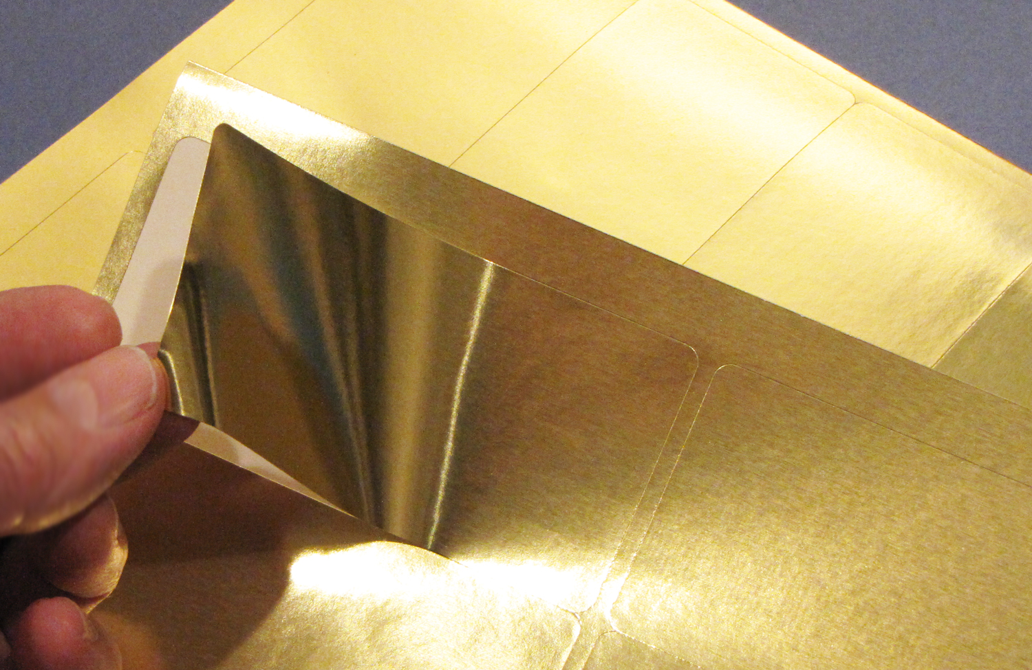photo about Printable Gold Foil Paper named 4 x 2 Gold Foil Labels for Lasers 50 sheets 4020GF