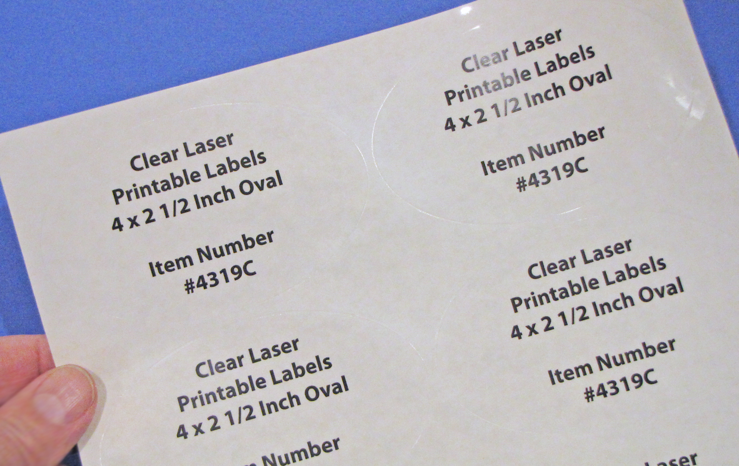 image regarding Clear Printable Labels called Oval 4 x 2 1/2 inch Crystal clear Shiny Laser Labels 50 Sheets 4319C