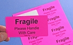 Fragile Please Handle With Care Stickers 250 Pink Labels Fragile4020P