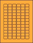 3/4 x 1 Labels Fluorescent Orange 72 per sheet 50 sheets OR341