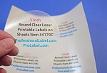 3 inch Round Clear Glossy Laser Printable Labels 50 Sheets 4179C