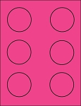 2 1/2 Inch Round Fluorescent Pink Sticker Labels 50 sheets P212