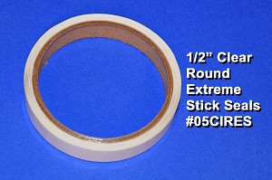 .5 inch Round Clear Label Seals Extreme Stick 500 roll 05CIRES