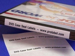 "DVD or Blu-ray Case Seals Custom Printed 50 4"" x 1.25"" Labels 1348QP"