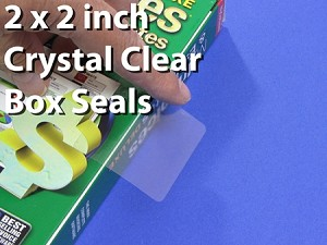 "Two inch 2"" Square Clear Tab Seal Label Sticker 500 Roll 22SQ"