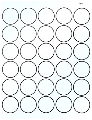 Round 1 1/2 inch White Glossy Laser Printable Labels 50 Sheets 4279GW