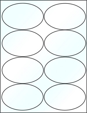 Oval 4 x 2 1/2 inch White Inkjet Glossy Labels 50 Sheets #4319JG