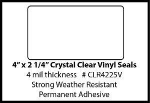 Crystal Clear Vinyl Seal Sticker Labels 4 x 2.25 Inches 500 per roll CLR4225V