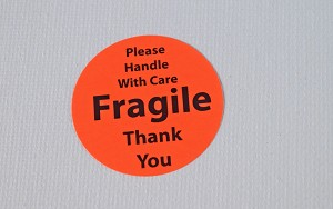 Fragile Stickers 1 1/2 inch 600 Red Fluorescent Labels FR4240