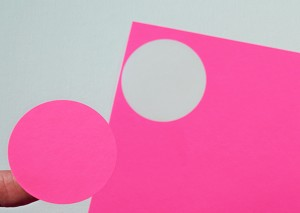 Round 2 Inch Pink Fluorescent Labels 50 sheets P4220