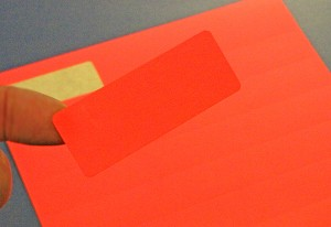 2 5/8 x 1 Fluorescent Red Labels 50 sheets R2610