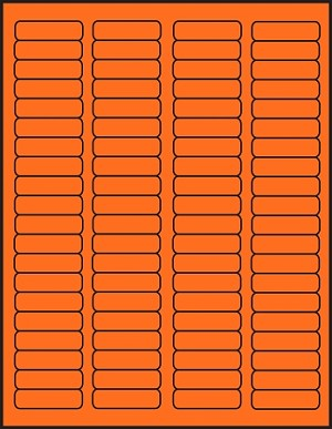 1 3/4 x 1/2 inch Labels Fluorescent Orange color 50 sheets OR1705