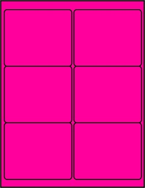4 x 3 1/3 Inch Fluorescent Pink Labels 50 sheets P4033