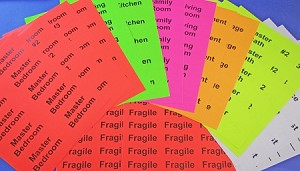 "Color Coded Moving Kit 4"" x 2"" Fluorescent Room Labels and Fragile Labels"
