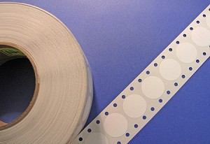 "1"" Circle Wafer Tab Seal Labels White Paper 3125 roll WHT1W"